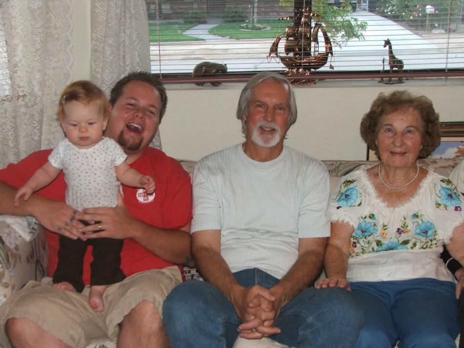 Four Generations!  Violet, Micah, Micah's Dad Tom & Grandma Vi