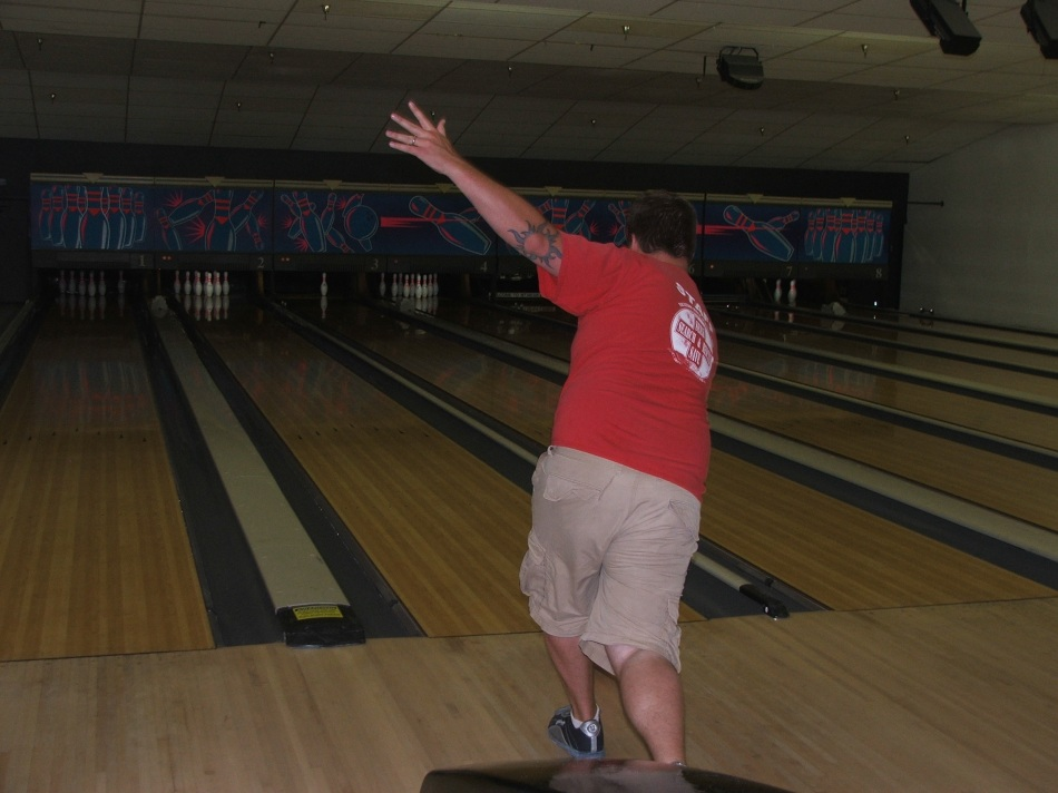 Micah likes to wave at the pins while he bowls