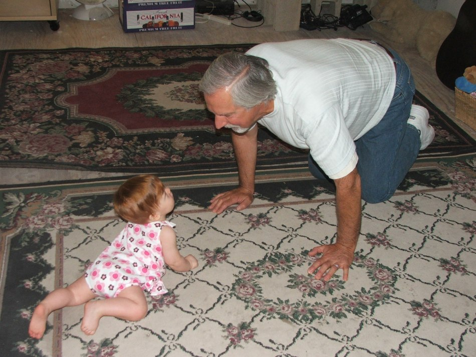 Grandpa Tom crawling with Violet