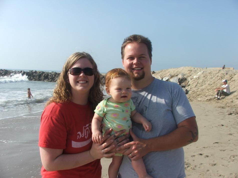 Cute family at the beach