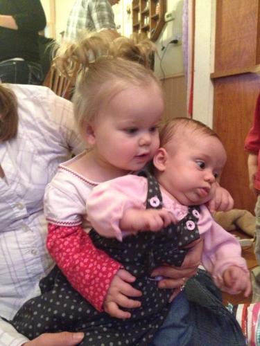 Even Keira wanted to hold baby Afton
