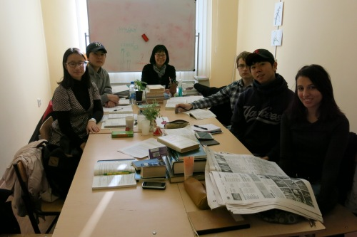 In my class, we have three Koreans, a girl from Austria, a Chinese girl, and a guy from Finland.