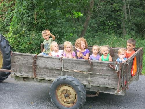 A tractor ride from Grandpa!