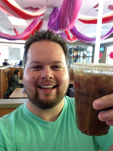 Enjoying free iced coffee from Chick Fil A.